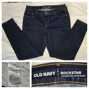 Old Navy Dark Washed Rockstar Jeans Sz 14 Reg